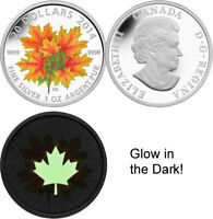 2014 RCM Glow-in-the-dark 'Maple Leaves' Colorized Proof $20 Silver Coin