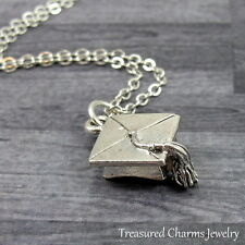 Silver Graduation Cap Charm Necklace - Graduate Diploma Pendant Jewelry NEW