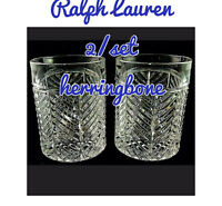 2 Ralph Lauren Herringbone Double Old Fashioned Whiskey Glasses Crystal NEW