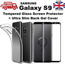Full 3D Curved Tempered Glass & Soft TPU Clear Gel Back Cover for Samsung S9