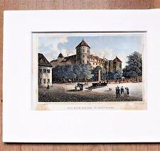 Vieux Château En Stuttgart - Finement Couleur Table en Acier , Env. 1850