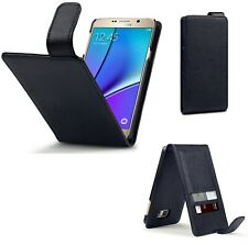 PU Leather Flip Case Cover Black For Samsung Galaxy Note 5