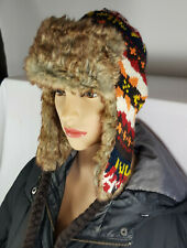 MEN WOMEN KNITTED FAUX FUR TRAPPER LINED SKI WINTER EAR FLAP HAT Nov13-6