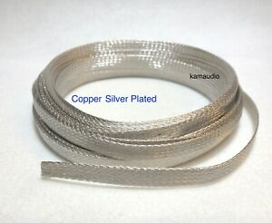 1m Silver Plated Copper Cable Braided Sleeving Hi Fi Cable Shielding, multi size
