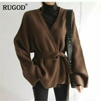 brown v-neck wrap long wide sleeve oversized sweater cardigan