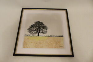 Charlotte Oakley Tree In Golden Field Framed Print 36 x 36cm Gold Glass Missing
