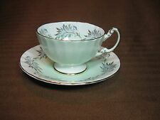 Aynsley Bone China Cup & Saucer Scalloped Edges Pale Green Rim Gold Trim
