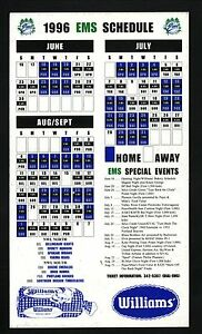 Eugene Emeralds--1996 Magnet Schedule--Williams Bread--Braves Affiliate