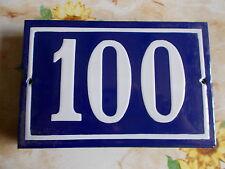 ANCIEN NUMERO *100* EMAILLE DE MAISON  PLAQUE EMAILLEE DE RUE 15cmx10cm