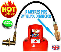UK LPG Filling Point to Gas Propane Bottle 3 Meters FLEXI pipe SWIVEL pol @@@@@