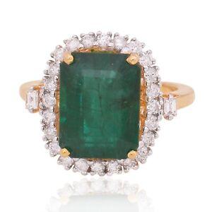 5.95 TCW Emerald Gemstone Ring 14k Yellow Gold SI/HI Baguette Diamond Jewelry