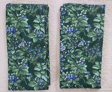 2 Laura Ashley Berry Bramble Drapes Lined Curtain Panels Green Blue 41 x 85 Lot