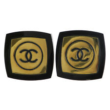 Authentic CHANEL CC Logos Earrings Clip-On Gold-Tone Plastic Accessory 65ED608