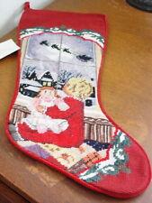 Sferra Needlepoint Christmas Stocking GIRL GAZING OUT THE WINDOW  Wool - NEW!