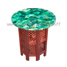 Round Green Onyx Table Marble Inlay Side Table Top Pietra Dura Modern Home Decor