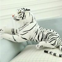 10'' Tiger Plush Animal Realistic Big White Tiger Hairy Soft Stuffed Toy Pillow