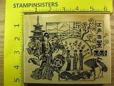 Rubber Stamp Japanese Collage Embossing Arts Geisha Dragon Stampinsisters #2992
