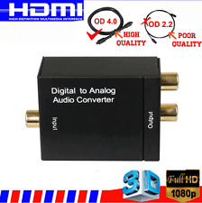 Digital Optical Coaxial Toslink Signal to Analog Converter Audio Adapter RCA