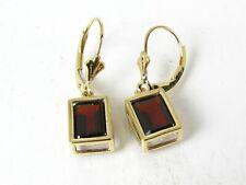 Estate 14k Yellow Gold 3ctw Natural Garnet Dangle Ladies Earrings 2.6g