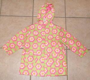 GYMBOREE Girls Green Floral XS 3 / 4 School or Play Snap Up Hooded Rain Jacket