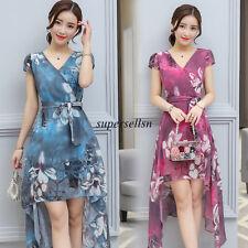 Summer Korean Women Chiffon Slim Evening Party Cocktail V Neck A Line Dress 2XL