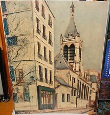 MAURICE UTRILLO STREET SCENE VINTAGE COLOR LITHOGRAPH PRINTED IN USA