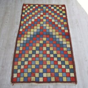 Vintage Anatolian Authentic Plaided Rug 3x5 Handwoven Colorful Art Deco Wool Rug