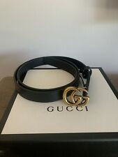 Gucci Womens Marmont Double GG Black Leather Belt Size 90