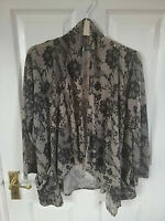 SPARKLE & FADE WOMENS BLACK FLORAL LONG SLEEVE OPEN BLOUSE POINTY TOP SIZE 12