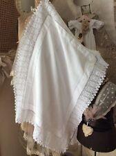 Antiguo Francés Chateau superposición Mantel ~ mestizos Textil & Ganchillo Encajes ~ 30x23