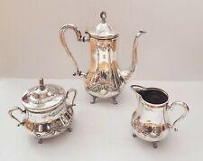 WMF antique set: teapot or coffee pot, sugar bowl, milk jug, silver pl. 1910 /tt