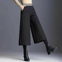 Women's Cropped Pantskirt Winter Warm Quilted Culotte Pants Trousers High Waist