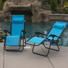 Anti Gravity Chair  Set of 2  Adjustable Recliner Chair Sky Blue  Padded Tray