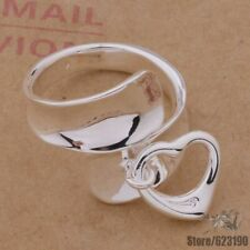 Spoon Ring With Heart Adjustable Size 925 Sterling Silver Plated NEW