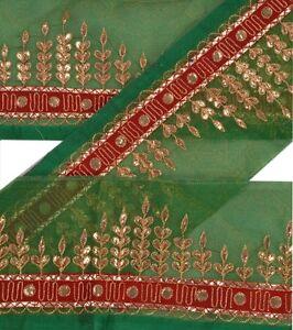 Sanskriti Vintage Sari Border Craft Green Trim Hand Embroidered Sewing Lace