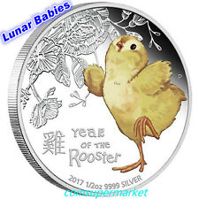 2017 Lunar Year Cute Baby Rooster 1/2oz Colorized Silver Proof Coin Perth OGP!!!