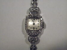 Authentic Vintage Omega Platinum Ladies Wrist Watch with 48 Diamonds on 14K Band