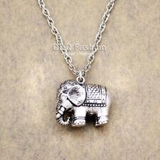 African Elephant Indian Ganesha Ganesh Hindu Silver Pendant Necklace Gift H6