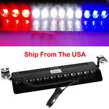 12 Led Emergency Warning Flashing Strobe Light Beacon Visor Lamps R/ White Blue