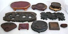 """Group of 10 Chinese & Japanese Custom Shape Carved Wood Display Stands (9"""" - 2"""")"""