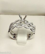 0.56 Carats Diamond Engagement Ring Mounting & Wedding Band Set 14K Gold Twisted
