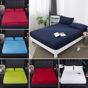Waterproof Fitted Bed Sheet Bedspread Solid Color Pad Protector Mattress Cover
