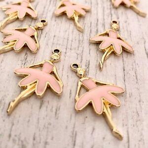 Pack 5 Pink Enamel Light Gold Ballerina Ballet Dancer Tibetan Charms Pendants
