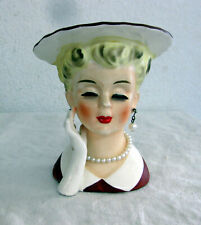 Vintage LADY HEAD VASE Napco C5046 PEARL NECKLACE & EARRINGS
