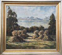 Ölgemälde Felix Malecki Linden 1908-1986 Kornhocken Wien Österreich 85 x 95