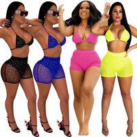Sexy Women Rhinestones Mesh Perspective Bodycon Short Pants Clubwear Set 2pcs