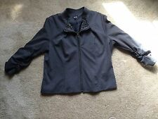MUST SEE!!  APT 8 CHARCOAL GRAY ZIP FRONT JACKET W/BEADED COLLAR!!  SZ XL