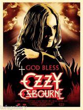 Recherché! ORIG Shepard Fairey Obey God Bless Ozzy Osbourne S/N imprimé Poster