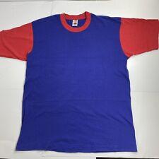 New listing Vintage 90s Fotl Color Block Blue & Red Blank T-shirt Large (L)