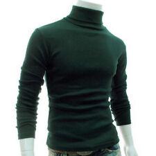 Hombre Manga Larga Jersey Cuello Alto Vuelto Ajustado Slim Básico Camiseta Top